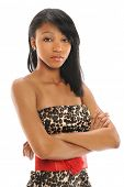 stock photo of cross-dress  - portrait of beautiful African American teenager with arms crossed isolated over white background - JPG