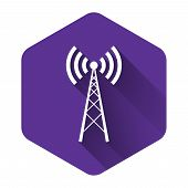 White Antenna Icon Isolated With Long Shadow. Radio Antenna Wireless. Technology And Network Signal  poster