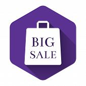 White Shoping Bag With An Inscription Big Sale Icon Isolated With Long Shadow. Handbag Sign. Woman B poster