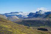 Icelandic Landscape With Eyjafjallajokull Glacier Tongue, Markarfljot River And Green Hills. Fjallab poster