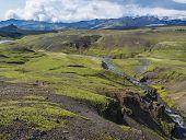 Beautiful Lush Green Landscape Of Skoga River Valley Cascades Near Skogafoss Waterfall And Skogar En poster