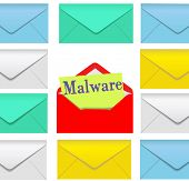 image of malware  - Open email envelope attachment symbol with malware inside - JPG