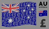Waving Australia Official Flag. Vector Pound Sterling Design Elements Are Grouped Into Geometric Aus poster