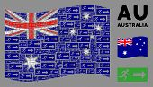 Waving Australia State Flag. Vector Emergency Exit Design Elements Are Organized Into Geometric Aust poster