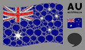 Waving Australia State Flag. Vector Quote Design Elements Are Organized Into Geometric Australia Fla poster