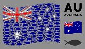 Waving Australia Flag. Vector Fish Elements Are Combined Into Geometric Australia Flag Collage. Patr poster