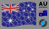 Waving Australia Flag. Vector Electrical Spark Elements Are Formed Into Mosaic Australia Flag Compos poster