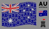 Waving Australia State Flag. Vector Fortress Tower Design Elements Are Combined Into Geometric Austr poster