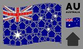 Waving Australia Official Flag. Vector House Icons Are Organized Into Geometric Australia Flag Compo poster