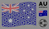 Waving Australia State Flag. Vector Football Ball Design Elements Are Combined Into Geometric Austra poster