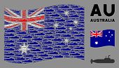 Waving Australia Official Flag. Vector Military Submarine Pictograms Are Organized Into Conceptual A poster