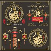 Chinese New Year. Year of the Rat 2020 elements. Chinese Calligraphy translation Happy new year an poster