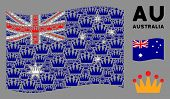 Waving Australia Official Flag. Vector Crown Elements Are Organized Into Geometric Australia Flag Co poster