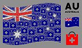 Waving Australia Flag. Vector First Aid Kit Design Elements Are Organized Into Geometric Australia F poster