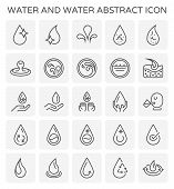 Water And Water Abstract And Water Treatment Vector Icon Set Design For Water Work And Water Treatme poster
