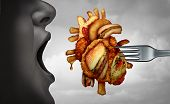 Diet And Heart Disease Dangerous Coronary Fitness And Unhealthy Food Concept With Human Cardiovascul poster