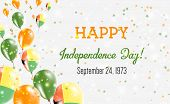 Guinea-bissau Independence Day Greeting Card. Flying Balloons In Guinea-bissau National Colors. Happ poster