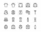 Cloth Flat Line Icons Set. Apparel - Jacket, Hoody, Sweatshirt, Male Pants, Polo Shirt, Jeans, Coat, poster
