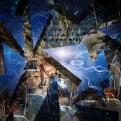 Surreal art. Shards of reality. 3D rendering poster
