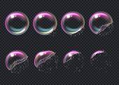 Burst Bubbles. Key Frames Of Transparent Deformed Bubbles Aqua Sphere Shiny Liquid Drops Vector Real poster