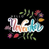 Hello November Hand Lettering. Poster, Postcard, Greeting Card. poster