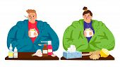 Sick People. Cold Caucasian Man And Woman, Winter Flu Male Female Character Vector Illustration. Sic poster