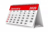 2020 year. Calendar for January. Isolated 3D illustration poster