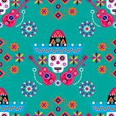 Mexican Seamless Pattern, Sugar Skulls And Colorful Flowers. Template  For Mexican Celebration, Trad poster