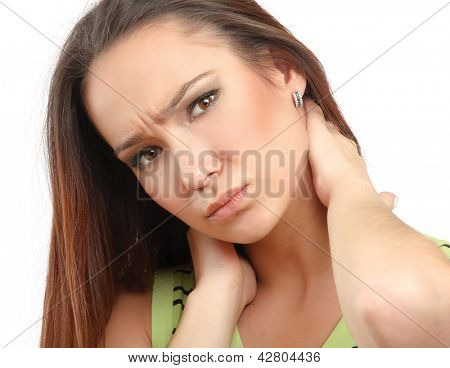 Young woman holding her neck because of pain, isolated on white background