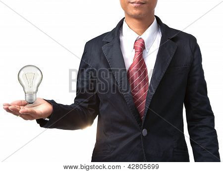 Man And Light Bulb On Hand Isolated White