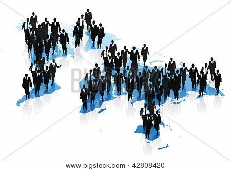 World Map And Business People Concept