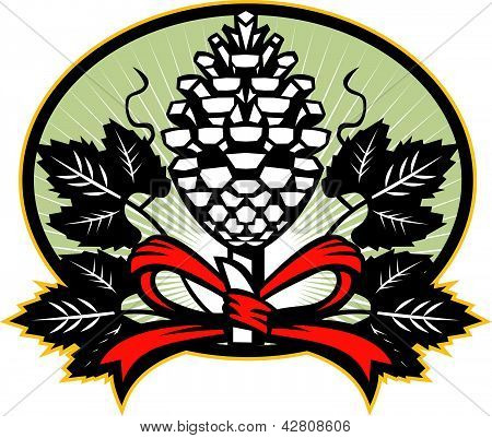 Thyrsus Pine Cone Staff Leaves Retro