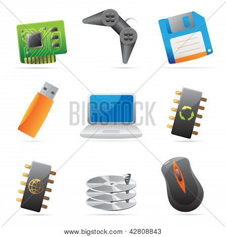 Icons For Computer And Computer Parts