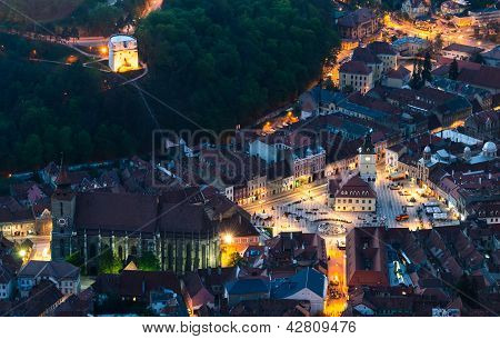 Brasov Old City At Dusk Time, Romania