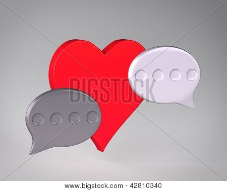 Heart and speech bubbles