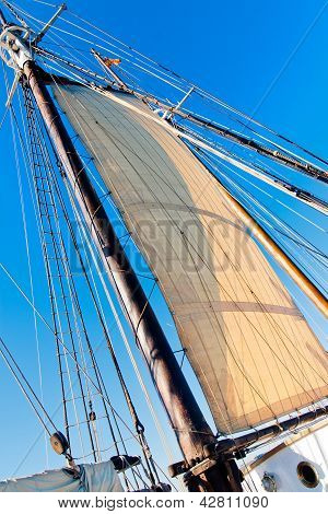 Old Schooner Mast, Sail And Rope