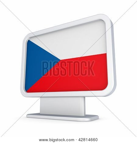 Czech Republic flag in a lightbox.