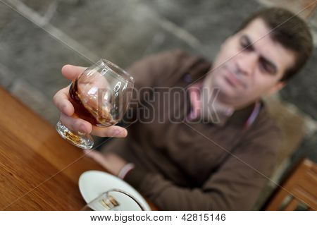 Man Has Degustation Of Brandy