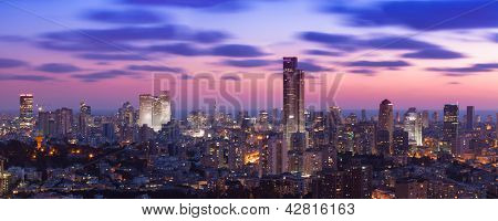 Tel Aviv and Ramat Gan Skyline at sunset