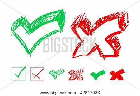 Set of hand-drawn check marks
