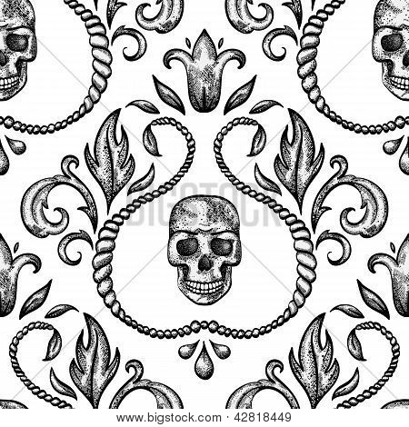 Vintage seamless ornament with skull