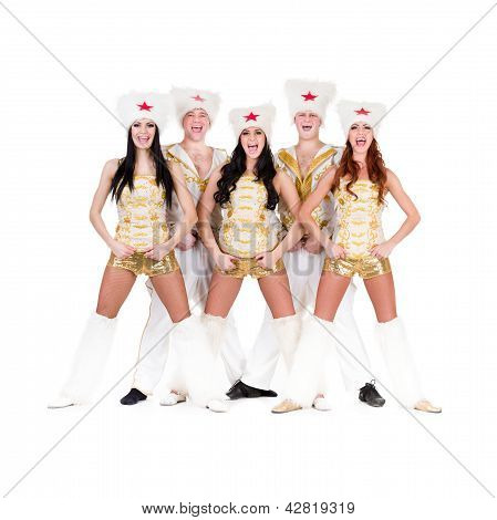 dancer team wearing a folk cossack costumes