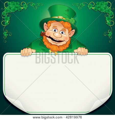 St. Patrick's Day Card. Leprechaun Holding a Blank Sign. Saint Patrick Day Background