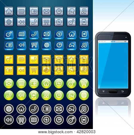 Touchscreen Smart phone with Set of Various Interface and Menu Buttons.