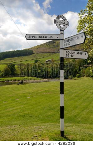 Old Road Sign In Burnsall, Yorkshire Dales National Park