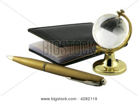 Notepad, Pen And Glass Globe.