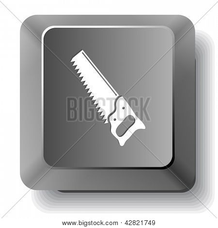 Hand saw. Raster computer key.