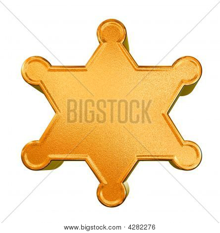 3D Golden Pattern Sheriff's Badge Concept Over White Background