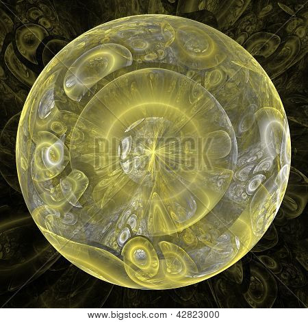 golden abstract sphere on dark background