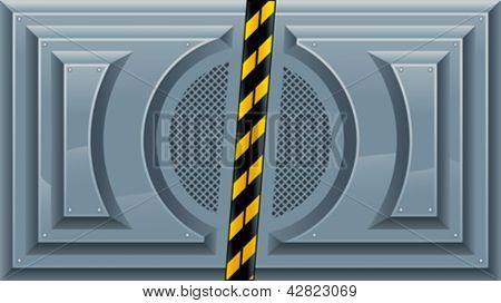 Sliding Doors. Vector illustration, separated element: left and right door can be animated because they are independent objects in the vector file, in 2 different layers.